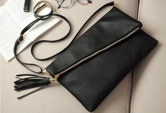 黑色信封包 新款黑色信封包 单肩包 手拿包 全pu包流苏斜挎包_推荐淘宝好看的黑色信封包