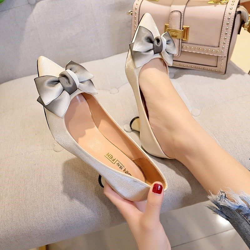 女高跟鞋 秋鞋粗跟鞋时尚中年女鞋子秋季新款女士高跟鞋3-5厘米_推荐淘宝好看的女高跟鞋