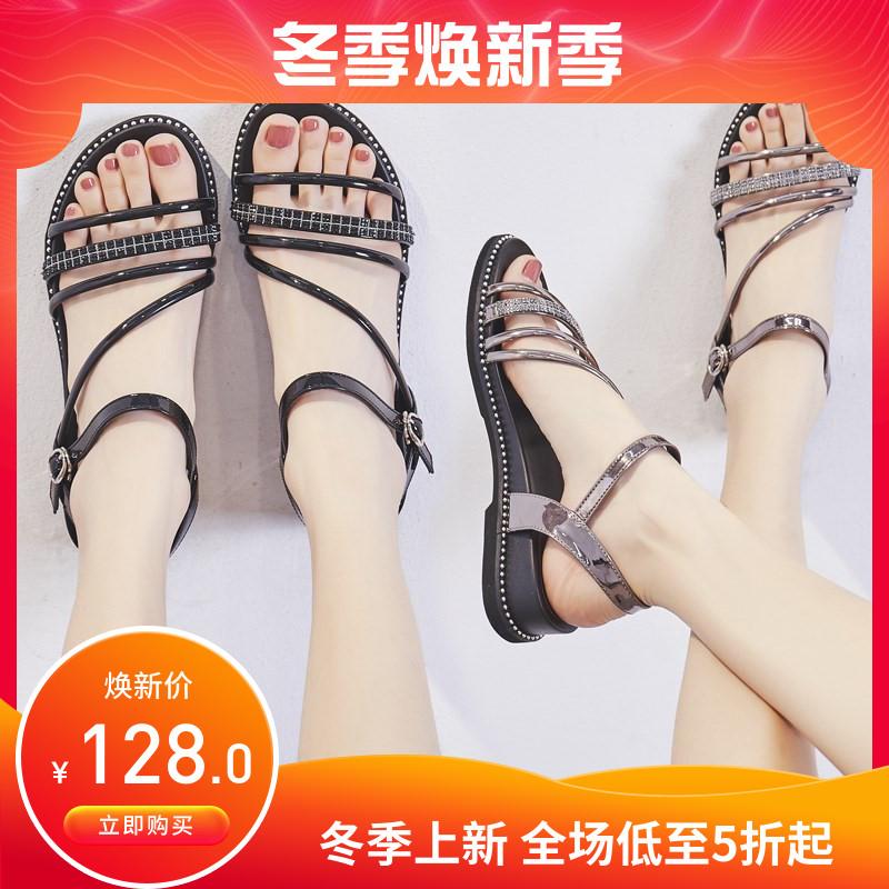 平底罗马鞋 凉鞋女2020年新款百搭仙女风中跟夏季女士鞋子罗马平底鞋坡跟时尚_推荐淘宝好看的平底罗马鞋