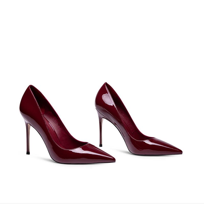 性感高跟鞋 2021新款真皮漆皮尖头细跟高跟鞋工作浅口小码3233酒红色性感女潮_推荐淘宝好看的女性感高跟鞋