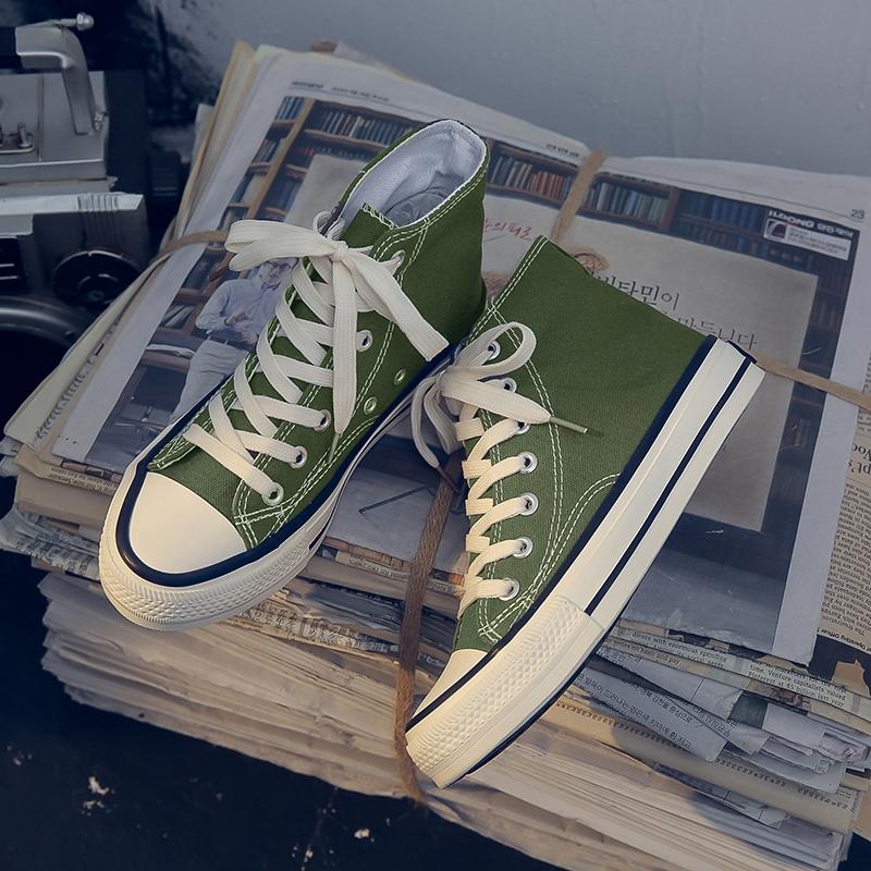 绿色帆布鞋 橄榄绿色高帮帆布鞋女泫雅风学生韩版潮鞋子2020新款百搭网红板鞋_推荐淘宝好看的绿色帆布鞋