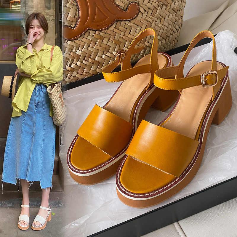 黄色罗马鞋 高档品牌粗跟凉鞋女夏2021年新款米色黄色仙女风露趾罗马一字带高_推荐淘宝好看的黄色罗马鞋
