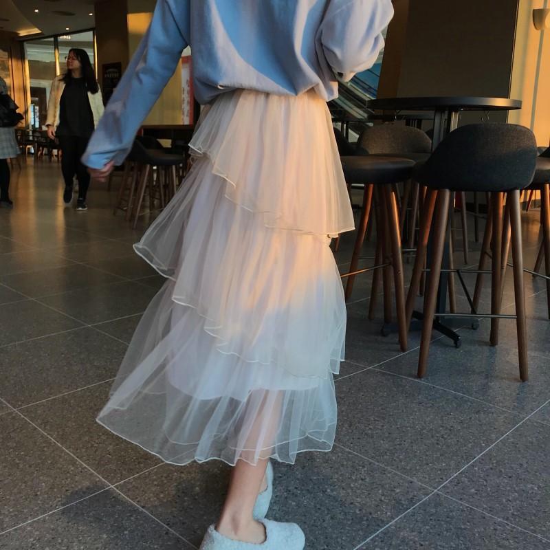 女士半身裙 春装新款韩版中长款网纱仙女裙松紧高腰百褶裙网红蛋糕半身裙女潮_推荐淘宝好看的半身裙