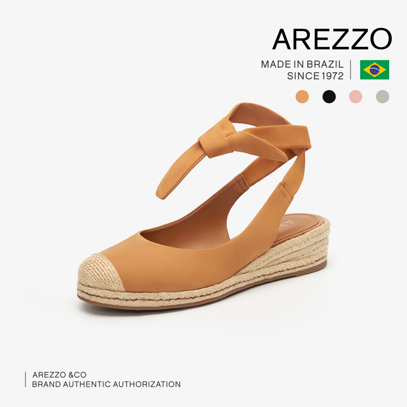 女士坡跟凉鞋 巴西AREZZO雅莉朶2019年夏季新款多色绒面坡跟绑带休闲百搭女凉鞋_推荐淘宝好看的女 坡跟凉鞋