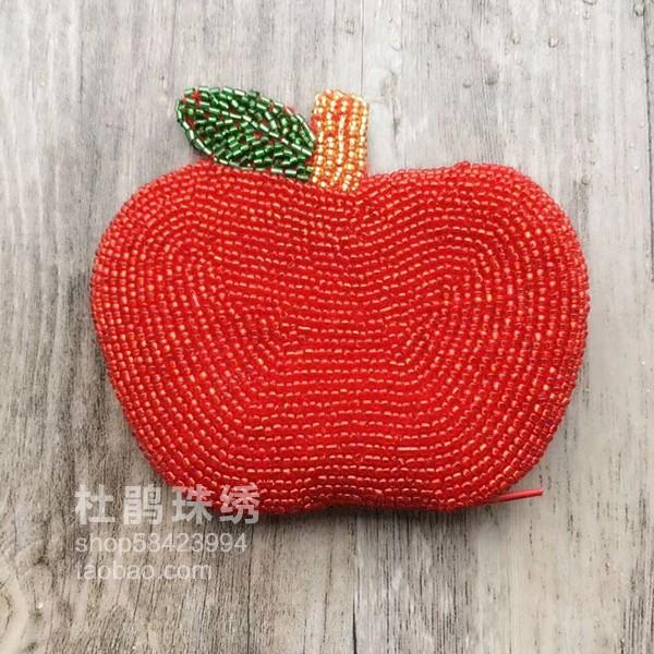 红色钱包 杜鹃珠绣新品纯手工创意红色圣诞夜平安果学生硬币女串珠零钱包_推荐淘宝好看的红色钱包
