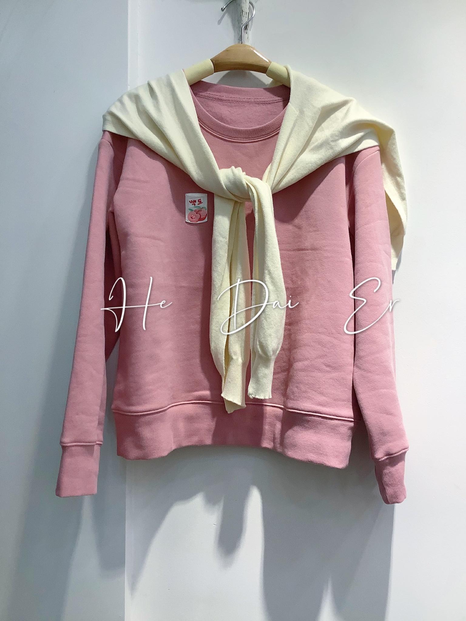 粉红色卫衣 2020秋冬新款修身韩版显瘦粉红色磨绒卫衣小个子女生卫衣学生卫衣_推荐淘宝好看的粉红色卫衣