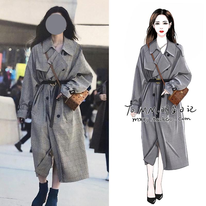 女装风衣外套 2020明星韩国街拍同款格子风衣大衣中长款过膝英伦风气质女装外套_推荐淘宝好看的女装风衣外套