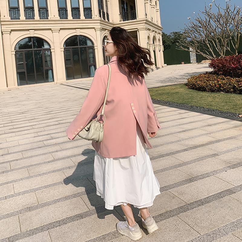 粉红色小西装 后背开叉粉红色休闲百搭小个子西装外套女设计感小众西服上衣春秋_推荐淘宝好看的粉红色小西装