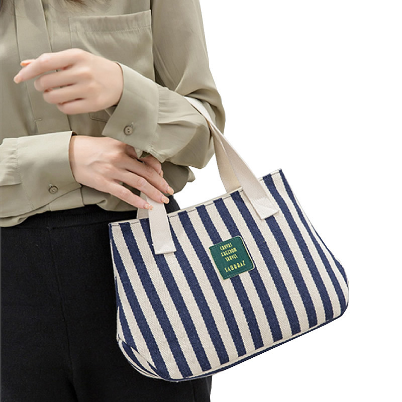 欧美帆布包 新款欧美时尚手提包女包休闲条纹帆布包包百搭手拎包轻便上班小包_推荐淘宝好看的女欧美帆布包