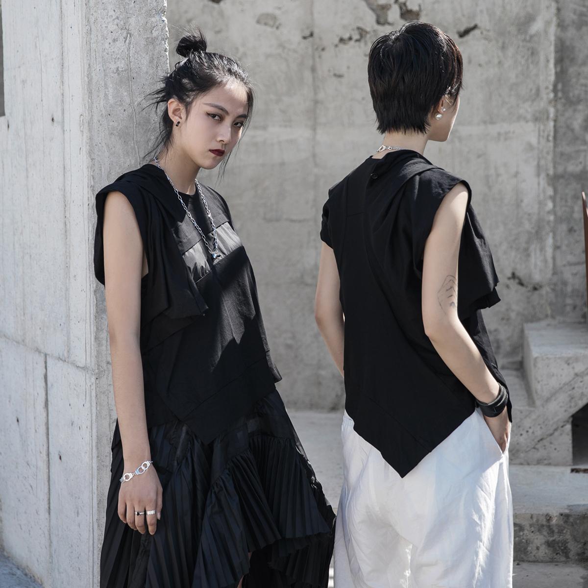 无袖t恤 SIMPLE BLACK 原创设计师款夏季不规则修身女士无袖T恤_推荐淘宝好看的女无袖t恤
