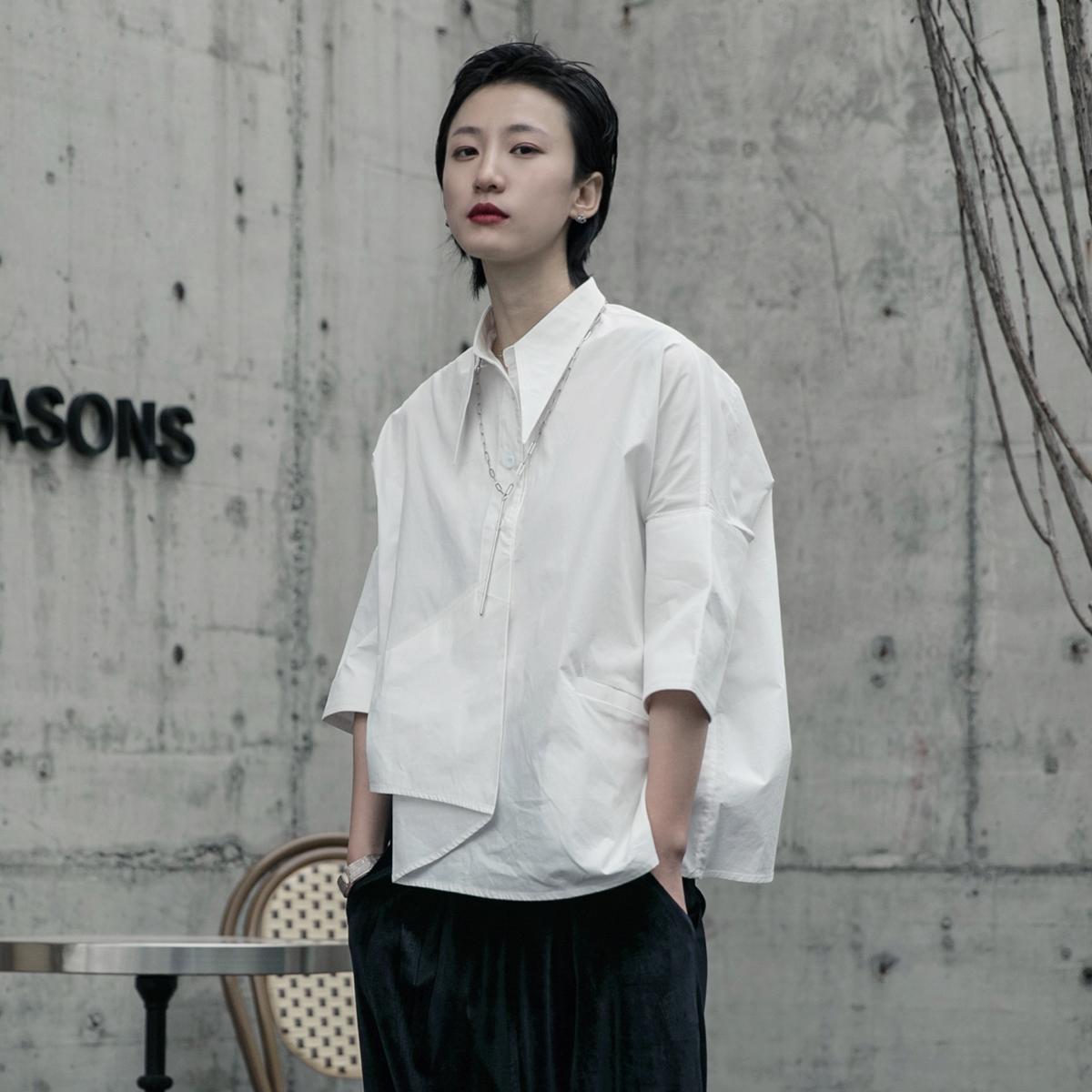 衬衫 SIMPLE BLACK 2021春秋简约港风设计师款夏季不规则七分袖衬衫女_推荐淘宝好看的女衬衫