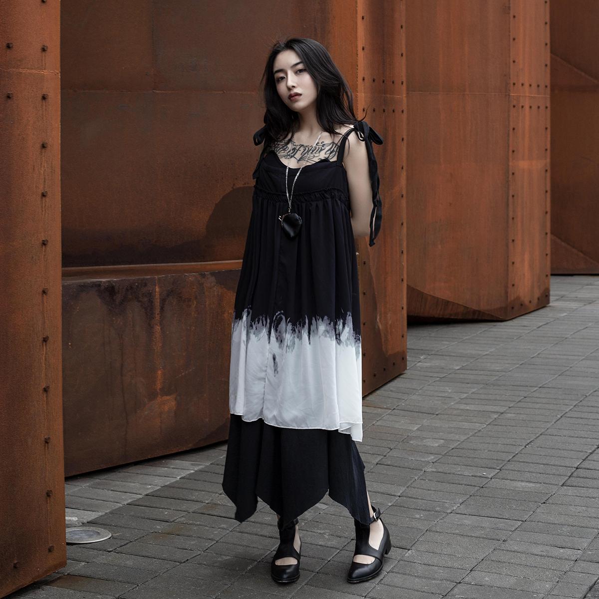 修身韩版连衣裙 夏季新品暗黑风渐变色韩版两穿修身吊带连衣裙_推荐淘宝好看的修身韩版连衣裙