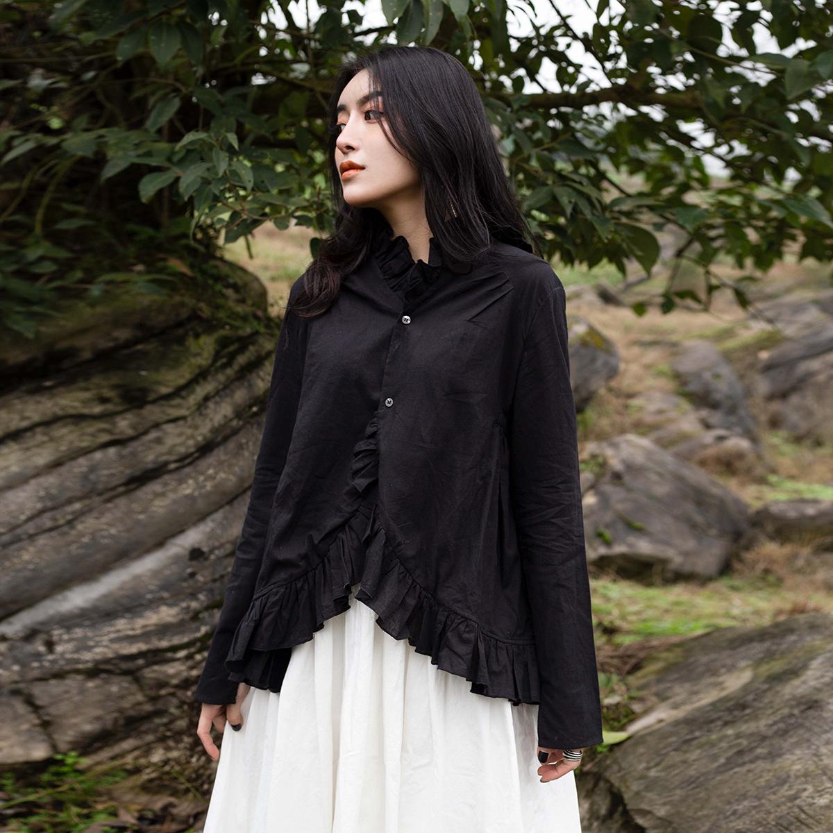 休闲衬衫 SIMPLE BLACK 春秋季ss新款薄棉花边休闲长袖衬衫娃娃衫女_推荐淘宝好看的女休闲衬衫