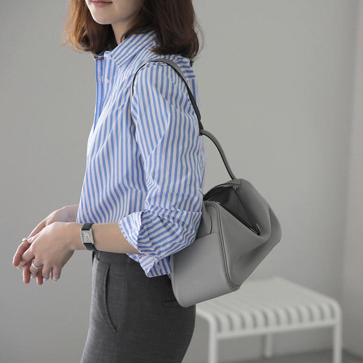 条纹衬衫 韩国正品代购 女装竖条纹基本款职场职业百搭衬衫G7648_推荐淘宝好看的女条纹衬衫