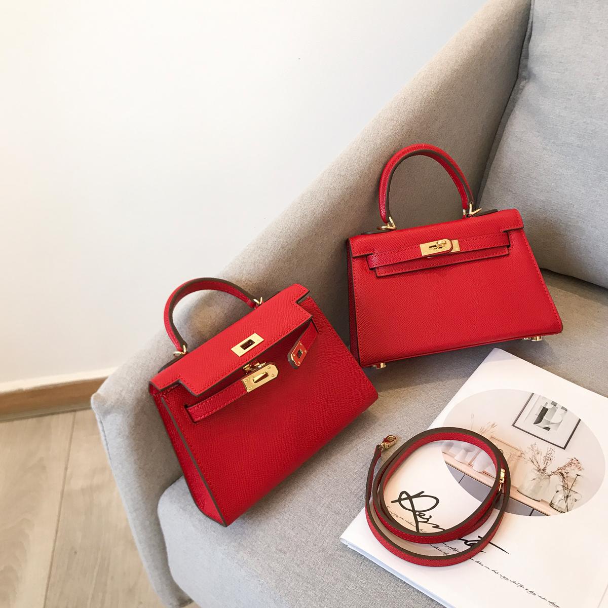 红色迷你包 YIXXI定制 秋冬新款手提小包包 红色 牛皮凯莉包 迷你单肩包_推荐淘宝好看的红色迷你包