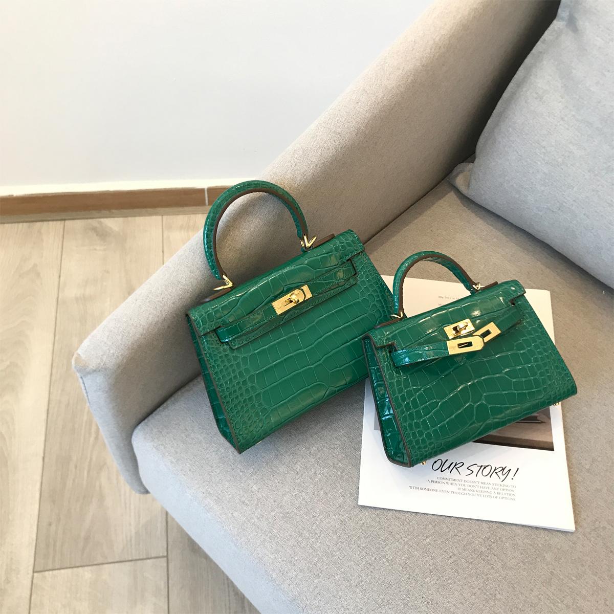 绿色迷你包 YIXXI定制 绿色鳄鱼纹牛皮凯莉包 二代迷你时尚女包2020春夏新款_推荐淘宝好看的绿色迷你包