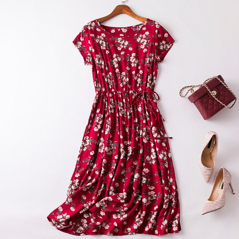 粉红色连衣裙 2020新款夏季棉绸连衣裙中长款短袖碎花大摆裙宽松绵绸人造棉裙子_推荐淘宝好看的粉红色连衣裙