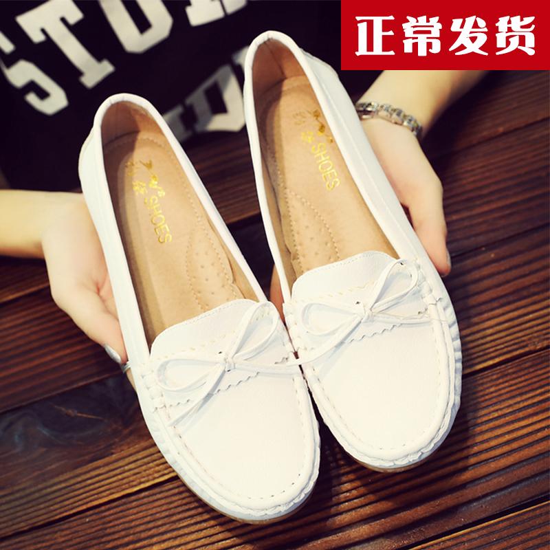 白色豆豆鞋 新春韩版豆豆鞋工作软底女单鞋护士鞋白色妈妈鞋孕妇瓢鞋平底鞋_推荐淘宝好看的白色豆豆鞋