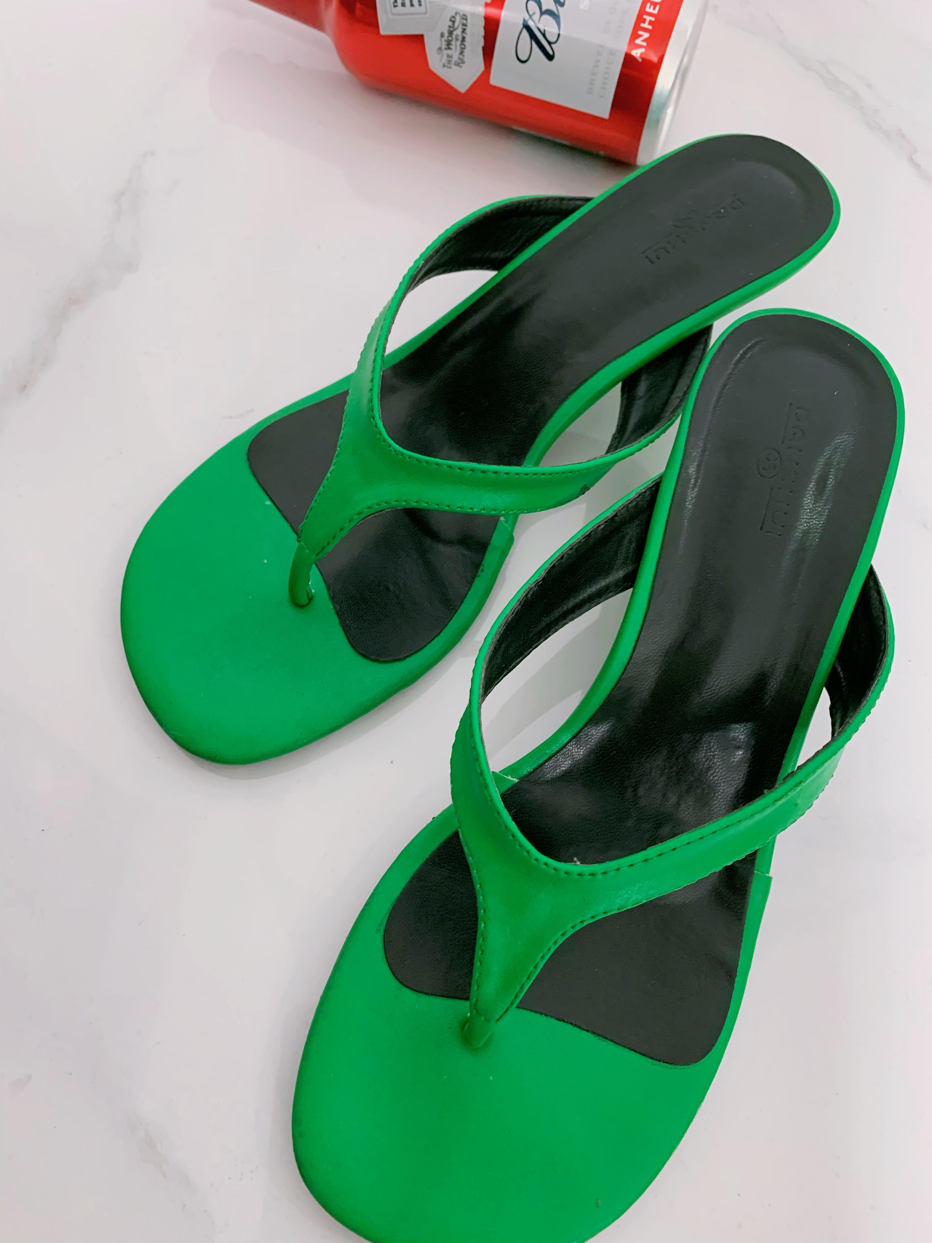 绿色鱼嘴鞋 LANCY2020夏季新款绿色人字奇异跟露趾拖鞋_推荐淘宝好看的绿色鱼嘴鞋