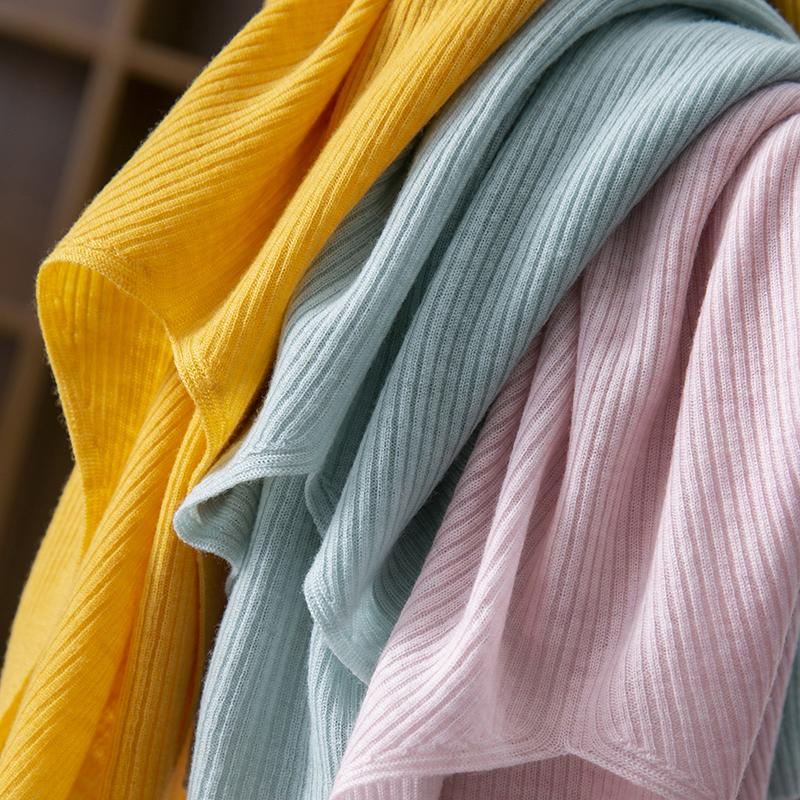 V领无袖t恤 衣橱常青款 无缝一体日本羊毛针织衫无袖短袖T恤女 春天家175J_推荐淘宝好看的女V领无袖t恤