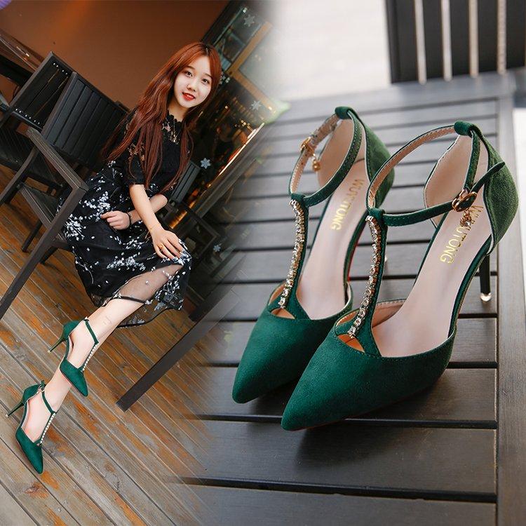 绿色凉鞋 女凉鞋2019新款仙女百搭绿色高跟鞋小清新一字扣细跟性感包头单鞋_推荐淘宝好看的绿色凉鞋