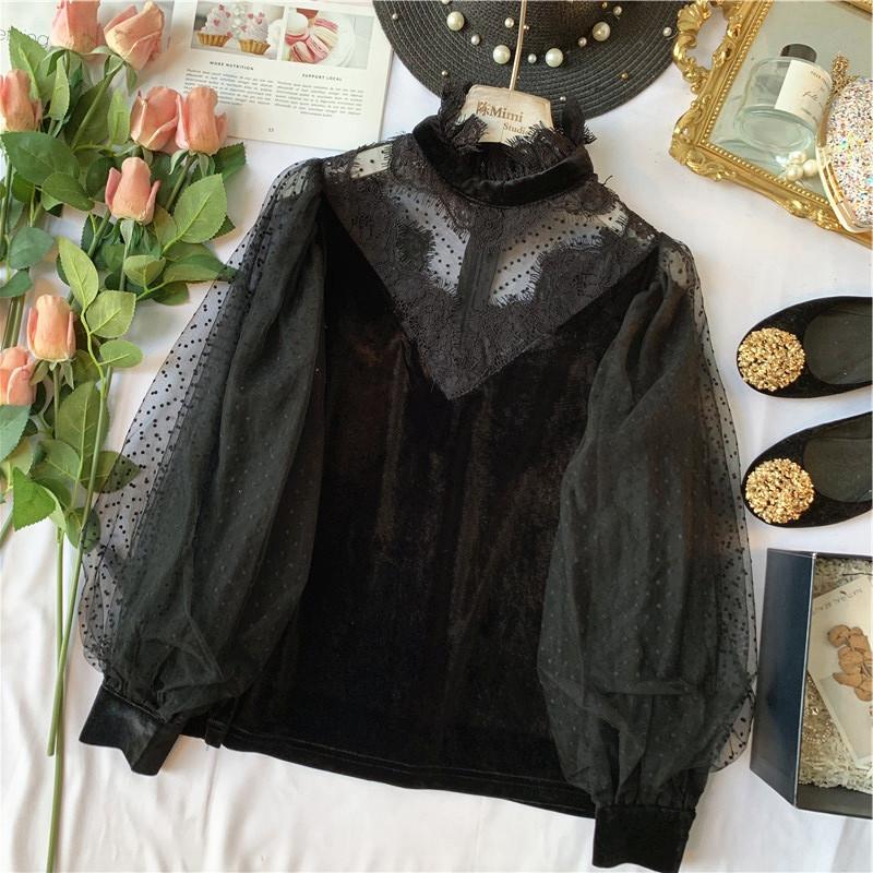 波点衬衫 Chen Mimi 法式巴黎风情 性感波点网纱睫毛蕾丝灯笼袖丝绒衬衫女_推荐淘宝好看的女波点衬衫