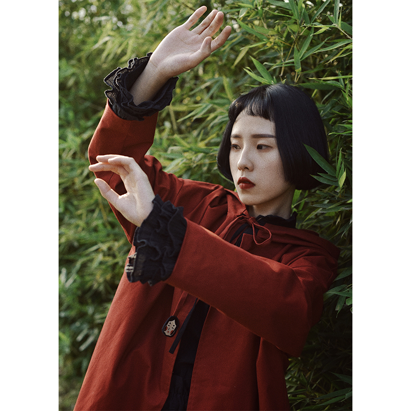 红色风衣 原创设计小红帽 英伦披风斗篷风衣复古文艺可爱少女款红色圣诞款_推荐淘宝好看的红色风衣