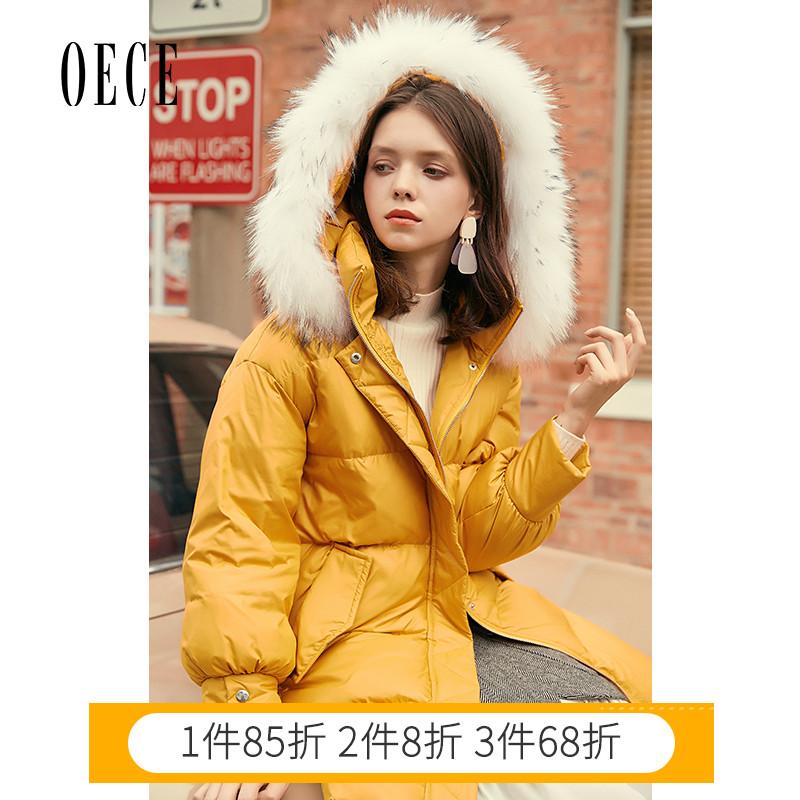 黄色羽绒服 Oece冬装新款女装 抢镜元气黄色领连帽中长款羽绒服女_推荐淘宝好看的黄色羽绒服