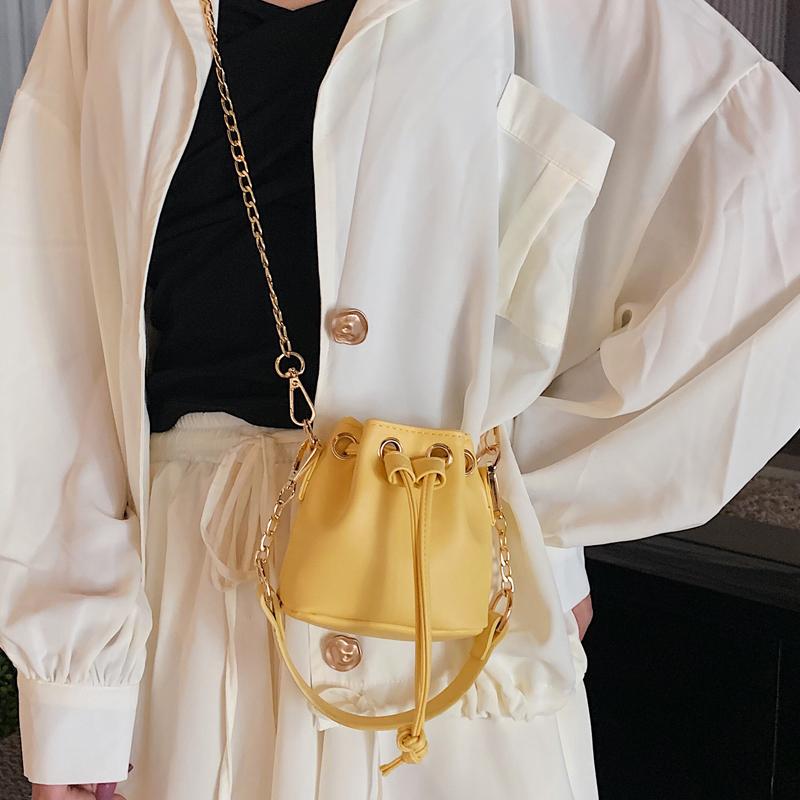 黄色链条包 迷你水桶包小包包女2020夏季新款潮韩版百搭洋气包链条时尚斜挎包_推荐淘宝好看的黄色链条包