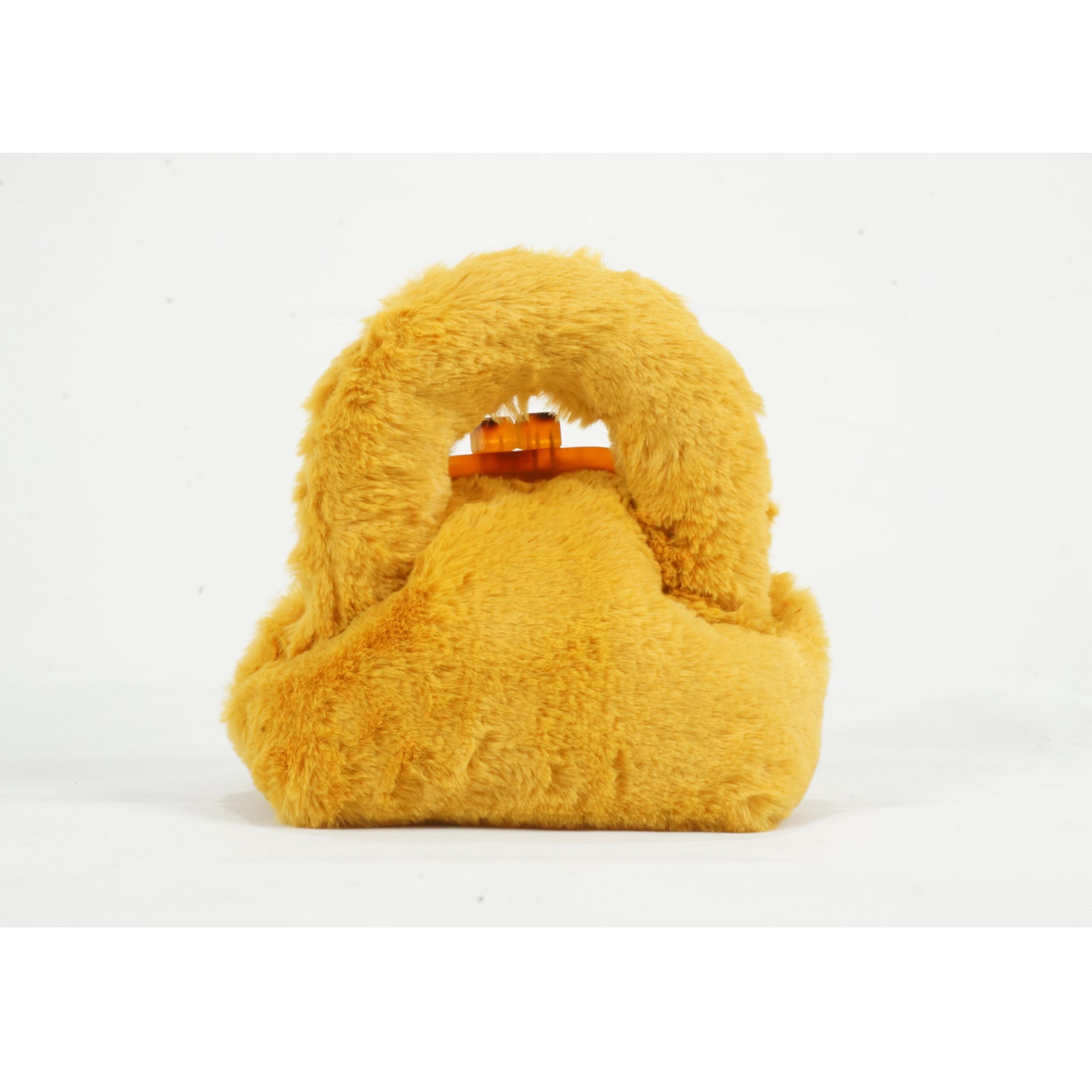 黄色斜挎包 「一七墨一八初」冬日送你一点小温暖贼嗲黄色濑兔毛斜挎手提女包_推荐淘宝好看的黄色斜挎包