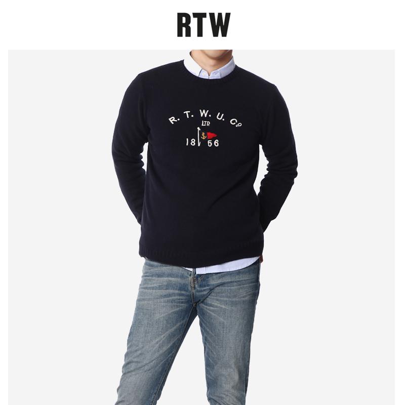 男士纯棉针织衫 RTW冬季新款纯棉修身圆领休闲套头针织衫外穿打底港风慵懒毛衣男_推荐淘宝好看的男纯棉针织衫