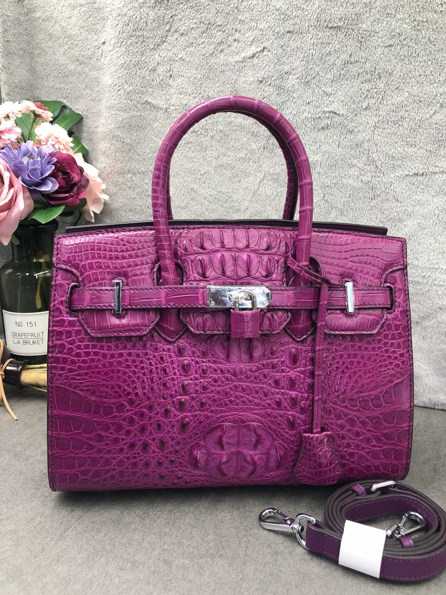紫色手提包 鳄鱼皮女士手提包斜挎改版拉链铂金包紫色真皮大容量妈妈包百搭包_推荐淘宝好看的紫色手提包