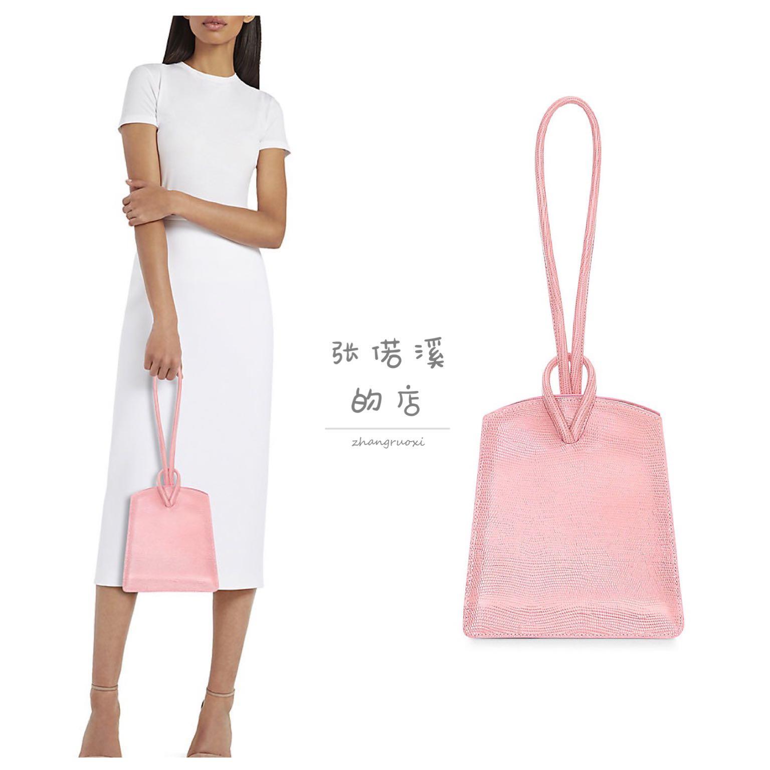 粉红色手提包 Little Liffner Loop粉红色蜥蜴压纹皮质手提包 女士单肩包_推荐淘宝好看的粉红色手提包