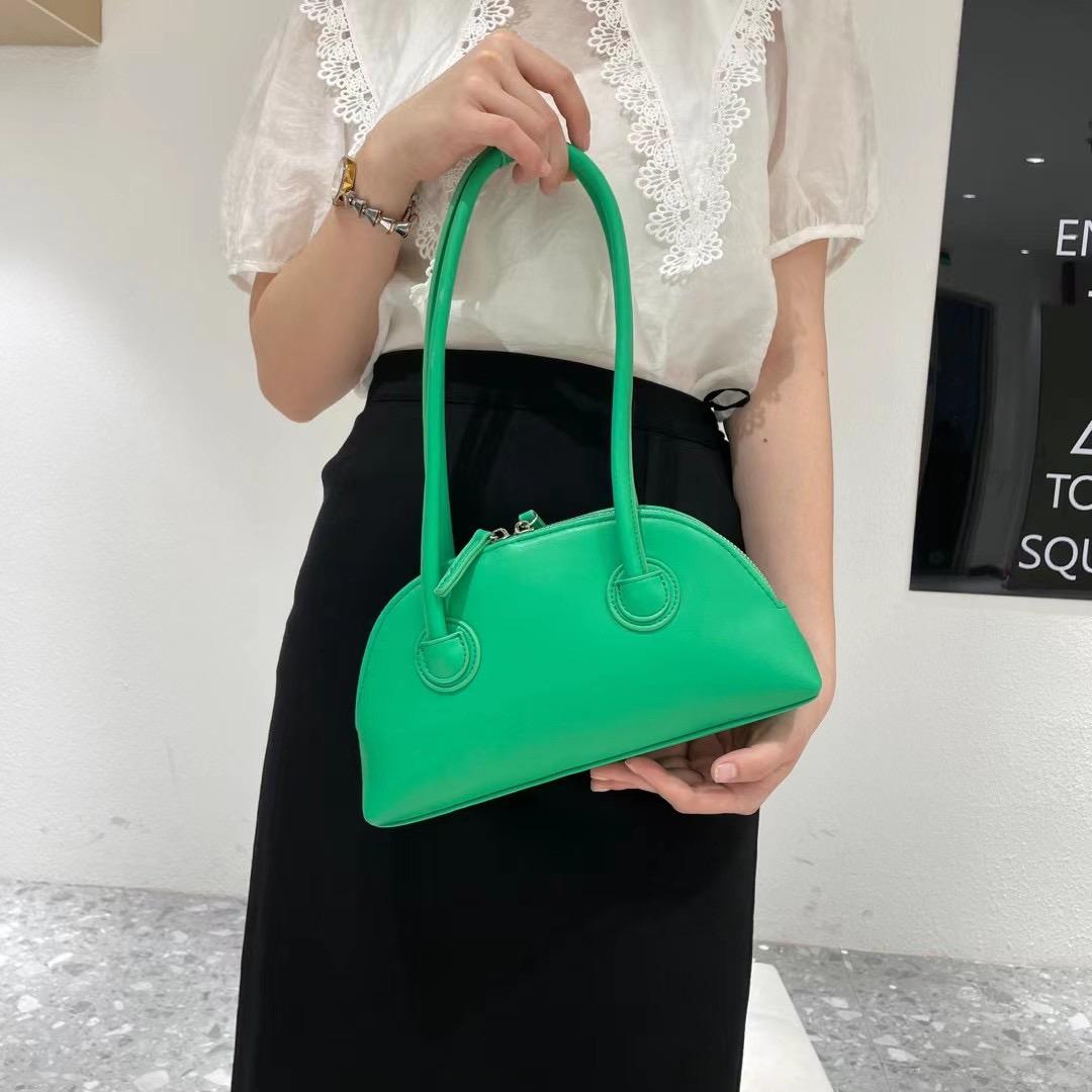 绿色贝壳包 2021新品果绿色包百搭洋气贝壳包高级法式腋下包斜挎潮流女包斜挎_推荐淘宝好看的绿色贝壳包
