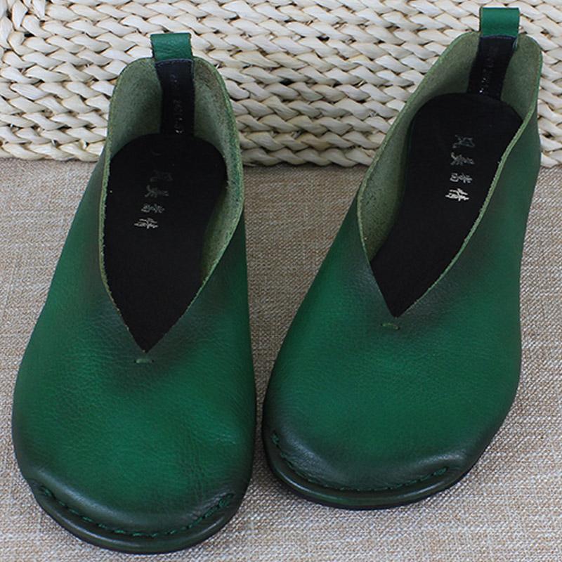 绿色平底鞋 风美嵩情原创民族风复古单鞋女真皮绿色女鞋手工女单鞋平底圆头_推荐淘宝好看的绿色平底鞋