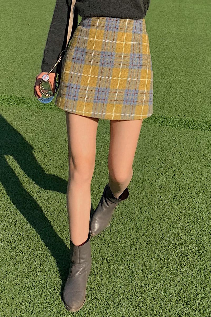 黄色半身裙 Jophond Lou量身定做秋装黄色格子毛呢半身裙一步裙小个子A字短裙_推荐淘宝好看的黄色半身裙