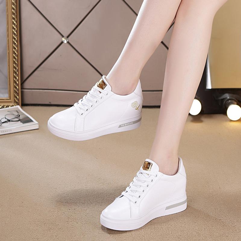 白色单鞋 鞋子女2021新款内增高小白鞋女真皮百搭休闲鞋白色运动鞋春季单鞋_推荐淘宝好看的白色单鞋