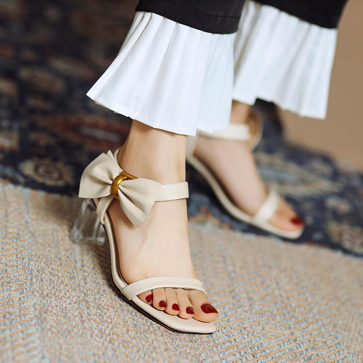 粉红色高跟鞋 鞋子2021年夏季凉鞋女杏色蓝色粉红色水晶鞋粗跟高跟大码女鞋 LQW_推荐淘宝好看的粉红色高跟鞋