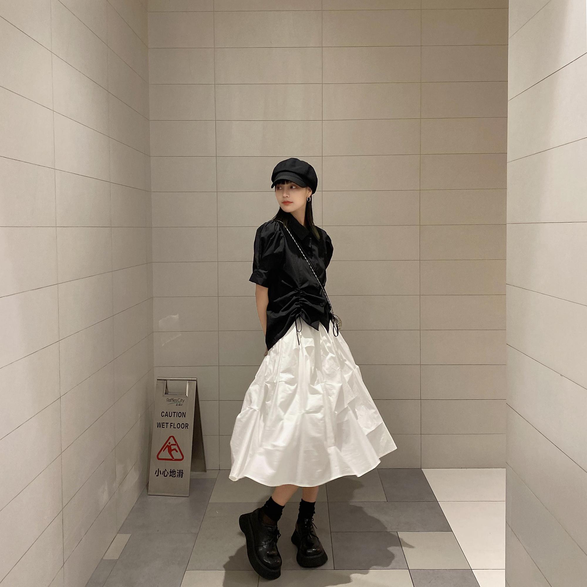 法式衬衫 ddgirl 致敬山本姥爷法式抽皱短袖衬衫女设计感小众泡泡袖上衣_推荐淘宝好看的女法 衬衫