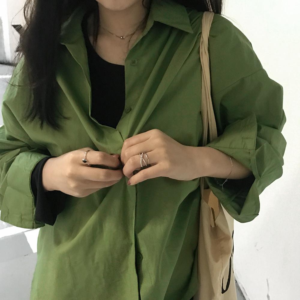 绿色衬衫 kumayes自制 2021春夏新款气质绿色宽松显瘦衬衣韩版休闲防晒衬衫_推荐淘宝好看的绿色衬衫
