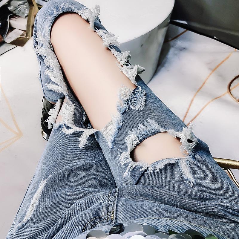 性感牛仔裤 BLYZ原创新品做旧乞丐裤子女装时髦潮流性感大破洞牛仔九分裤_推荐淘宝好看的性感牛仔裤