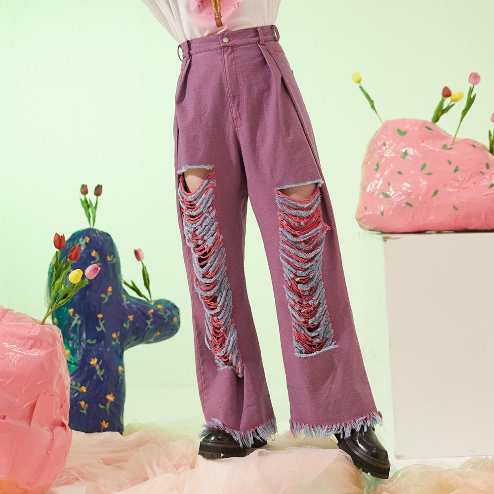紫色牛仔裤 冻拜爱丝设计 粉紫色水洗牛仔破洞毛边显瘦宽松阔腿高腰牛仔裤_推荐淘宝好看的紫色牛仔裤