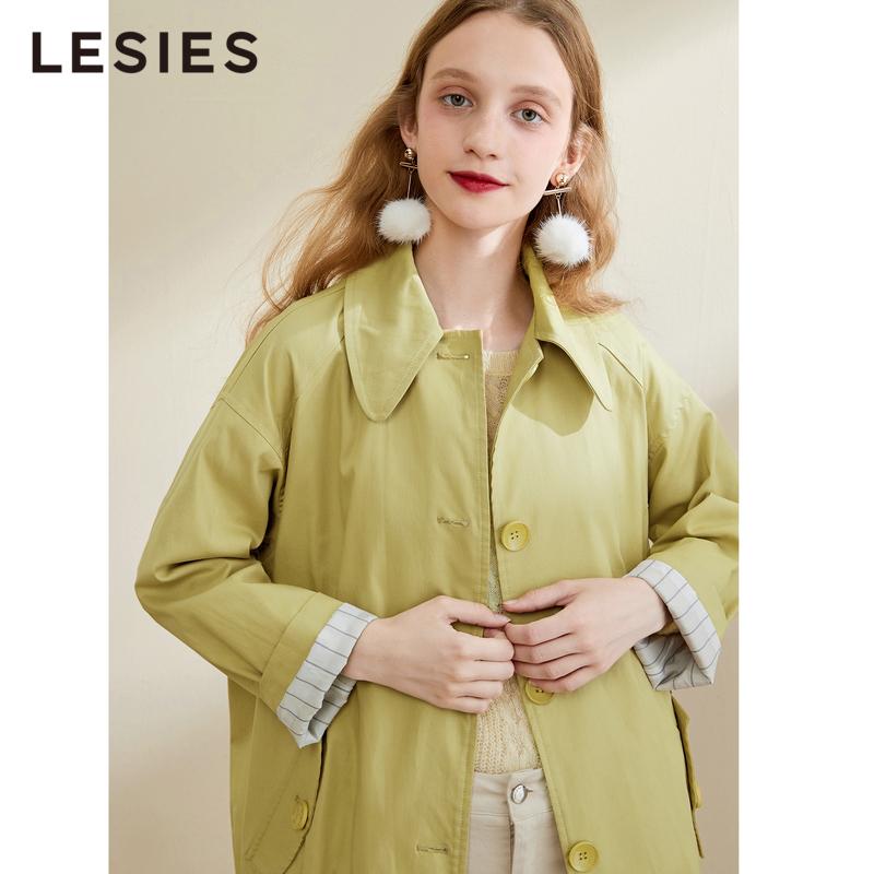 黄色风衣 蓝色倾情秋款女装 黄色翻领舒适纯棉长袖风衣女中长款外套_推荐淘宝好看的黄色风衣