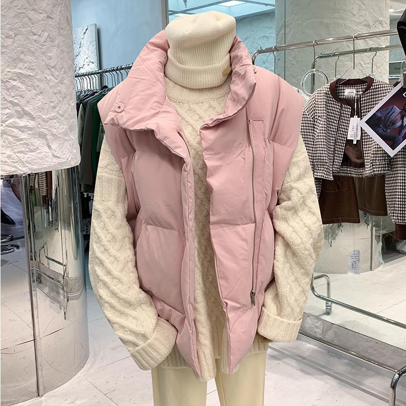 粉红色马甲 2021冬季新款粉红色立领无袖坎肩棉衣棉服宽松休闲背心马甲外套女_推荐淘宝好看的粉红色马甲