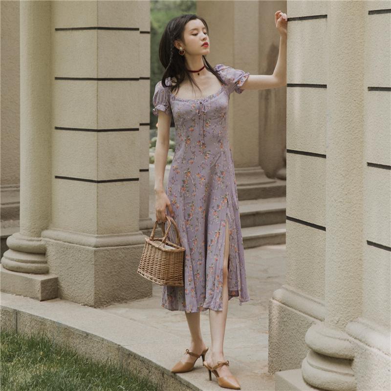紫色连衣裙 花衣服女紫色碎花裙侧开叉修身显瘦方领连衣裙法式复古夏雪纺超仙_推荐淘宝好看的紫色连衣裙