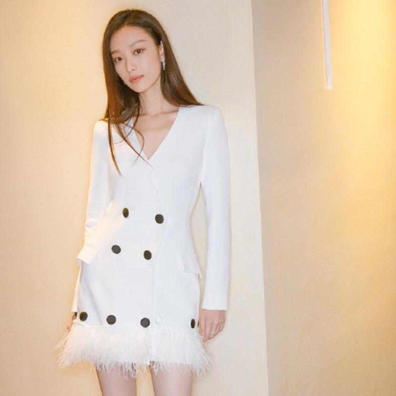 白色修身连衣裙 槿花凉夏2021春季新款倪妮同款性感V领修身气质白色长袖连衣裙女_推荐淘宝好看的白色修身连衣裙