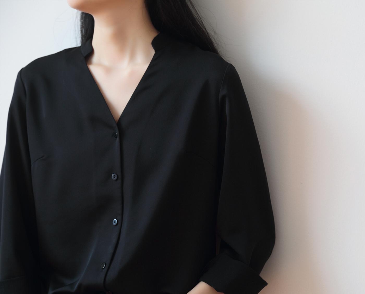 黑色衬衫 SS STUDIO 衬衫女设计感小众 通勤气质黑色v领叠穿长袖衬衣外穿春_推荐淘宝好看的黑色衬衫