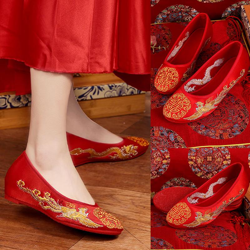 红色坡跟鞋 红色秀禾鞋新娘复古中式婚鞋龙凤结婚坡跟布鞋婚宴内增高女单鞋_推荐淘宝好看的红色坡跟鞋