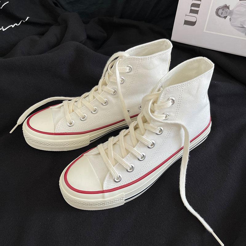 白色高帮鞋 白色高帮男女同款情侣款百搭休闲平底透气2021春季新款系带帆布鞋_推荐淘宝好看的白色高帮鞋