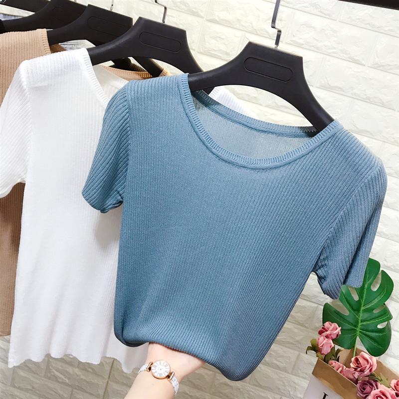 短袖针织衫 夏季新款针织冰丝短袖t恤女弹力微透薄款内搭体恤打底衫半袖上衣_推荐淘宝好看的女短袖针织衫